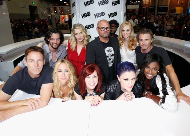 Actors Nathan Parsons, Kristin Bauer van Straten, Chris Bauer, Nelsan Ellis, Deborah Ann Woll, Sam Trammell, and Stephen Moyer, Anna Camp, Carrie Preston, Anna Paquin, and Rutina Wesley attend HBO's 'True Blood' cast autograph signing