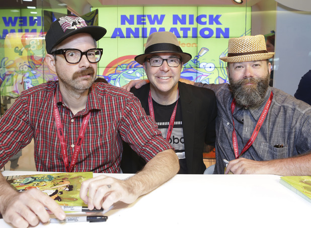 Comic book creator Johnny Ryan, executive producer David Sacks and Creator of Pig Goat Banana Cricket Dave Cooper sign autographs at the New Nick Animation cast signing