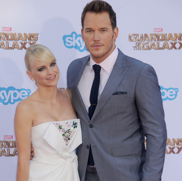 Chris Pratt and wife Anna Faris at the Guardians of the Galaxy premiere
