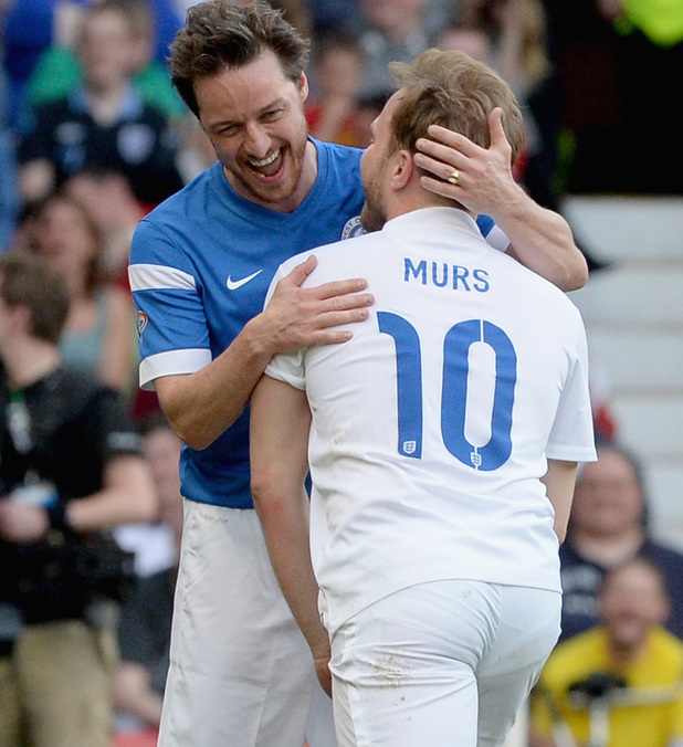 Olly Murs with James McAvoy in Soccer Aid