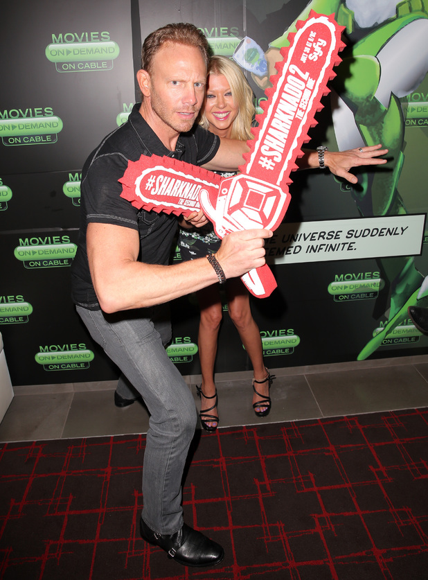 Ian Ziering and Tara Reid attend the Movies On Demand 'Sharknado 2' interviews during Comic-Con International 2014 - Day 2