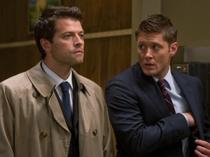 Misha Collins as Castiel and Jensen Ackles as Dean in Supernatural