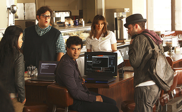 Jadyn Wong as Happy Quinn, Ari Stidham as Sylvester Dodd, Elyes Gabel as Walter O'Brien, Katharine McPhee as Paige Dineen and Eddie Kaye Thomas as Toby Curtis in Scorpion