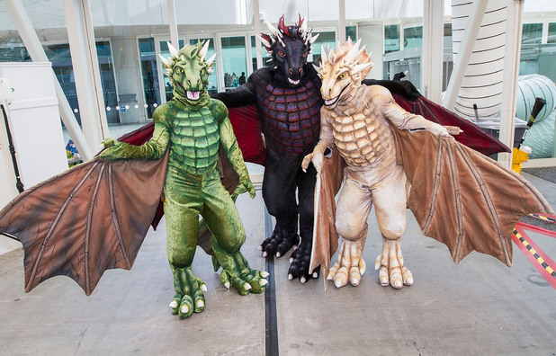Costumed fans arrive for the final day of Comic-Con
