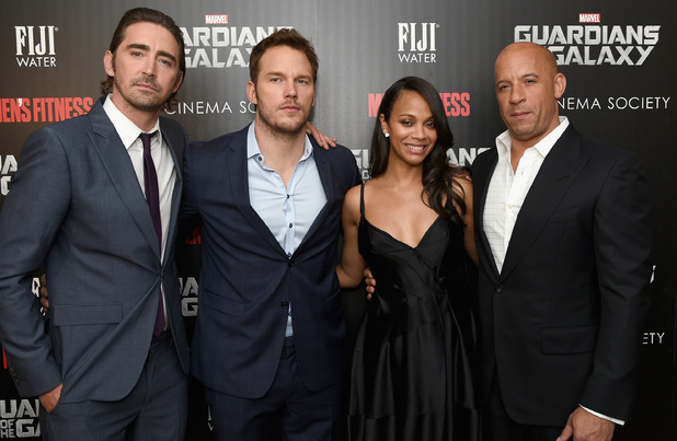 NEW YORK, NY - JULY 29: (L-R) Actors Lee Pace, Chris Pratt, Zoe Saldana and Vin Diesel attend The Cinema Society with Men's Fitness and FIJI Water special screening of Marvel's 'Guardians of the Galaxy' at Crosby Street Hotel on July 29, 2014 in New York City. (Photo by Dimitrios Kambouris/Getty Images)