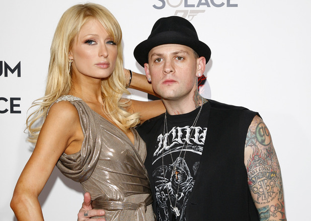 LOS ANGELES, CA - NOVEMBER 13: Benji Madden and Paris Hilton arrive at the pre-screening of 'Bond 007: Quantum Of Solace' on November 13, 2008 in Los Angeles, California. (Photo by Jean Baptiste Lacroix/WireImage)