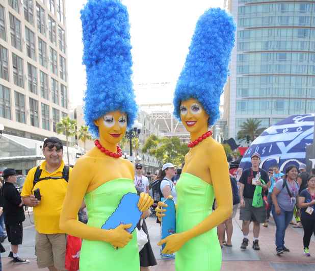 SAN DIEGO, CA - JULY 26: Costumed fans attend Comic-Con International on July 26, 2014 in San Diego, California. (Photo by Chelsea Lauren/Getty Images) Marge Simpson