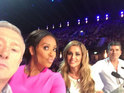 Mel B uploads shots with the panel at the audience auditions at Wembley Arena.