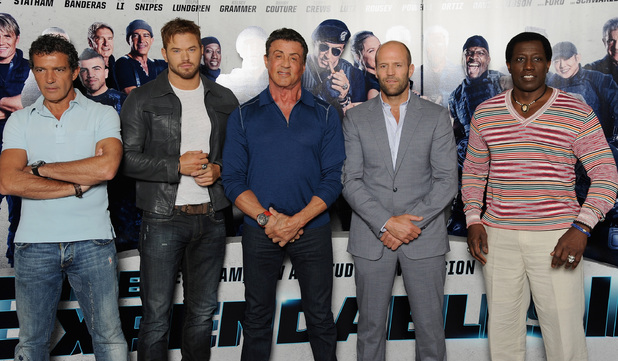 LONDON, ENGLAND - AUGUST 04: (L-R) Producer Zygi Kamasa, actor Kellan Lutz, producer Avi Lerner and actors Sylvester Stallone, Wesley Snipes, Jason Statham and Antonio Banderas attend 'The Expendables 3' photocall at the Corinthia Hotel London on August 4, 2014 in London, England. The Expendables 3 is released on August 14, 2014. (Photo by Dave J Hogan/Getty Images for Lionsgate)