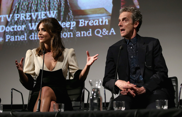 LONDON, ENGLAND - AUGUST 07: Jenna Coleman and Peter Capaldi attend the 'Doctor Who' London premiere Q&A at the BFI Southbank on August 7, 2014 in London, England. (Photo by Chris Jackson/Getty Images)
