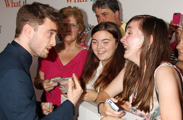 'What If' special fan film screening, New York, America - 04 Aug 2014 Daniel Radcliffe with Fans 4 Aug 2014