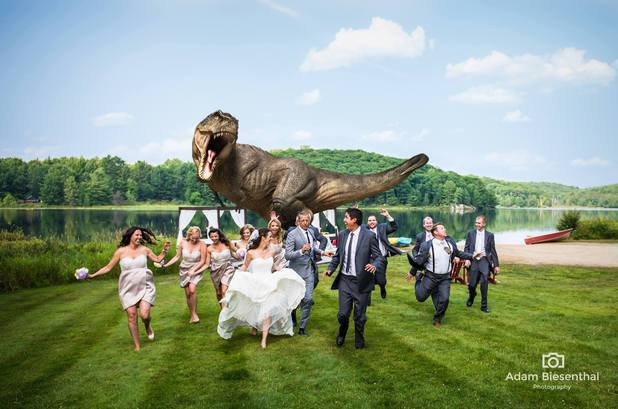 Jurassic Park-inspired wedding photo featuring Jeff Goldblum