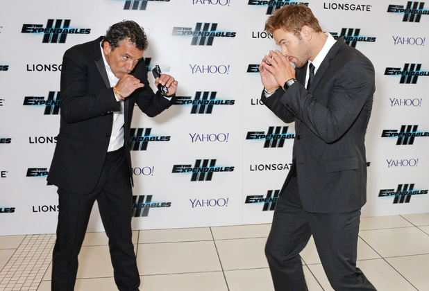 Kellan Lutz and Antonio Banderas attend the World Premiere of 'The Expendables 3' at Odeon Leicester Square