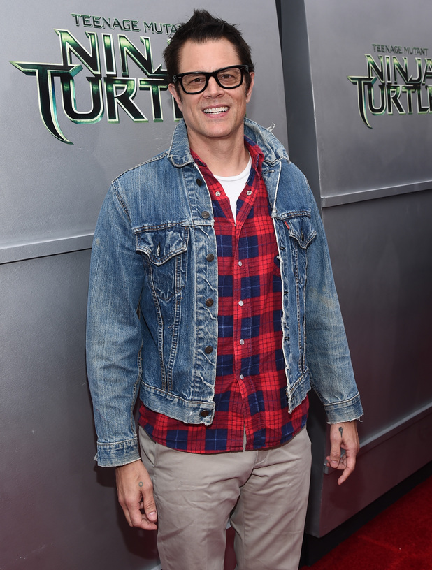 Johnny Knoxville attends 'Teenage Mutant Ninja Turtles' premiere at Regency Village Theatre