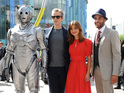 Peter Capaldi, Jenna Coleman and Steven Moffat are joined by Daleks and Cybermen.