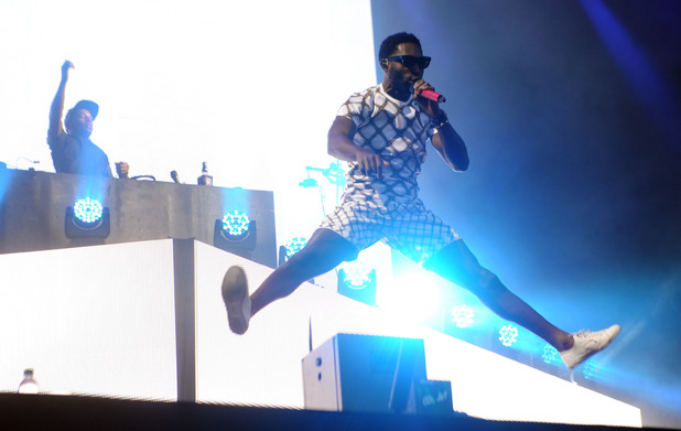 Tinie Tempah performs on stage at V festival 2014