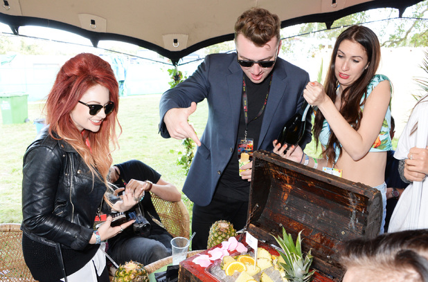 Sam Smith attends the Mahiki Rum Bar for the launch of the Mahiki Rum Family backstage during day 2 of the V Festival 2014