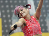 Lily Allen performs on stage at V festival 2014