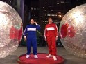Jimmy Fallon squares off against the star in a race around Rockefeller Plaza.