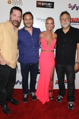 LOS ANGELES, CA - AUGUST 21: Producers David Latt, David Rimawi, actress Tara Reid and producer David Garber attend the premiere of The Asylum & Fathom Events' 'Sharknado 2: The Second One' at Regal Cinemas L.A. Live on August 21, 2014 in Los Angeles, California. (Photo by Angela Weiss/Getty Images)