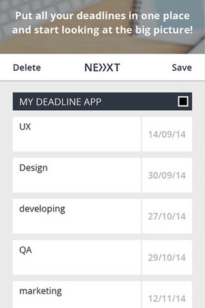 Next Deadline app for iOS