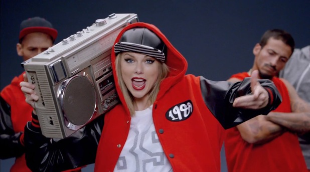 Taylor Swift 'Shake It Off' music video still.