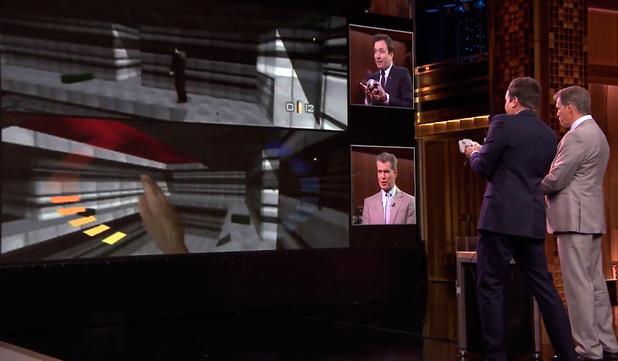 Pierce Brosnan play GoldenEye on N64 with Jimmy Fallon