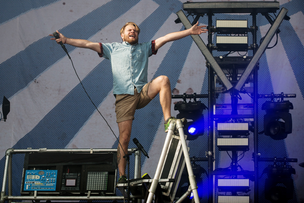 Rou Reynolds of Enter Shikari performs on Day 2 of the Leeds Festival at Bramham Park on August 23,