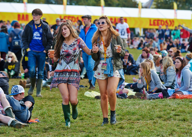 Festival goers enjoy the atmosphere during the second day of Leeds Festival at Bramham Park