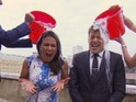 The Good Morning Britain host gets drenched in the charity fundraising stunt.