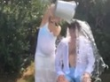 "The popstar thanks his ""gorgeous wife"" for dousing him with water in clip."