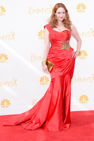 LOS ANGELES, CA - AUGUST 25: 66th ANNUAL PRIMETIME EMMY AWARDS -- Pictured: Actress Christina Hendricks arrives to the 66th Annual Primetime Emmy Awards held at the Nokia Theater on August 25, 2014. (Photo by Kevork Djansezian/NBC/NBC via Getty Images)