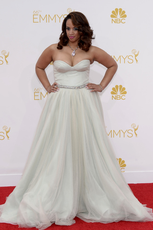 LOS ANGELES, CA - AUGUST 25: 66th ANNUAL PRIMETIME EMMY AWARDS -- Pictured: Actress Dascha Polanco arrives to the 66th Annual Primetime Emmy Awards held at the Nokia Theater on August 25, 2014. (Photo by Kevork Djansezian/NBC/NBC via Getty Images)
