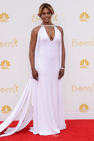 LOS ANGELES, CA - AUGUST 25: 66th ANNUAL PRIMETIME EMMY AWARDS -- Pictured: Actress Laverne Cox arrives to the 66th Annual Primetime Emmy Awards held at the Nokia Theater on August 25, 2014. (Photo by Kevork DjanseziaNBC/NBC via Getty Images)n/