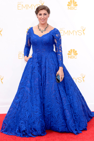 LOS ANGELES, CA - AUGUST 25: 66th ANNUAL PRIMETIME EMMY AWARDS -- Pictured: Actress Mayim Bialik arrives to the 66th Annual Primetime Emmy Awards held at the Nokia Theater on August 25, 2014. (Photo by Kevork Djansezian/NBC/NBC via Getty Images)