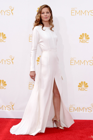 LOS ANGELES, CA - AUGUST 25: 66th ANNUAL PRIMETIME EMMY AWARDS -- Pictured: Actress Michelle Monaghan arrives to the 66th Annual Primetime Emmy Awards held at the Nokia Theater on August 25, 2014. (Photo by Kevork Djansezian/NBC/NBC via Getty Images)