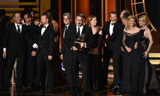 Vince Gilligan with cast and crew accept Outstanding Drama Series for Breaking Bad onstage at the 66th Annual Primetime Emmy Awards