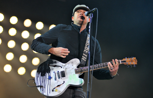 Tom DeLonge of Blink 182 performs at Reading Festival 2014