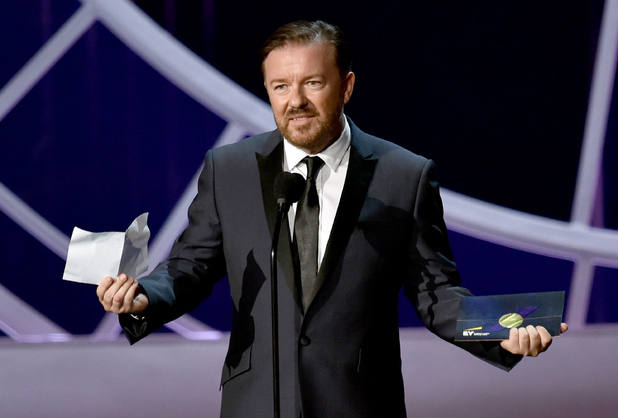 Ricky Gervais speaks onstage at the 66th Annual Primetime Emmy Awards