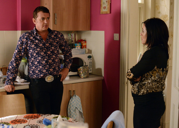 Alfie has to tell Kat he lied and didn't get the loan.