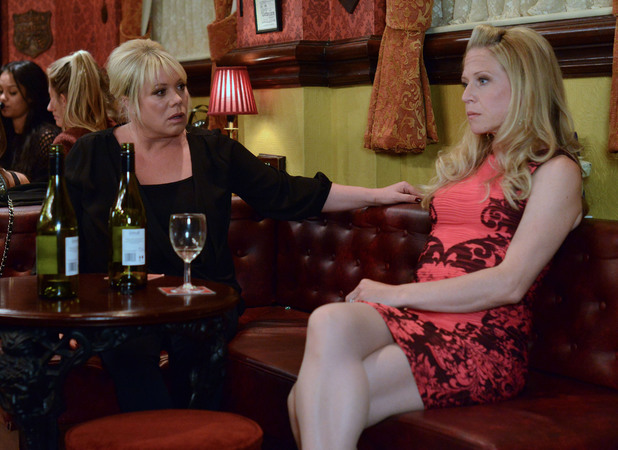 A tipsy Linda tells a shocked Sharon that Dean kissed her