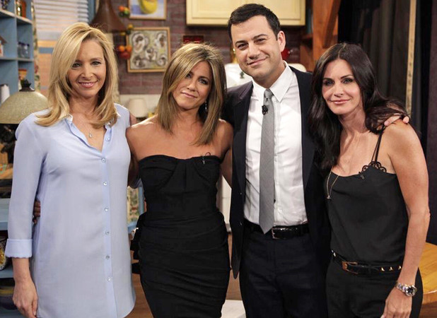 Jimmy Kimmel with Lisa Kudrow, Jennifer Aniston and Courtney Cox for a special Friends sketch
