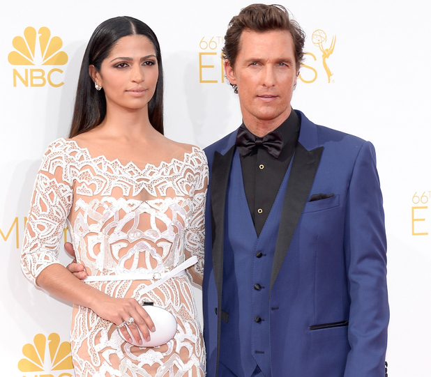LOS ANGELES, CA - AUGUST 25: 66th ANNUAL PRIMETIME EMMY AWARDS -- Pictured: (l-r) Model Camila Alves and actor Matthew McConaughey arrives to the 66th Annual Primetime Emmy Awards held at the Nokia Theater on August 25, 2014. (Photo by Kevork Djansezian/NBC/NBC via Getty Images)