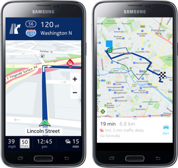 Nokia Here Maps on Samsung hardware