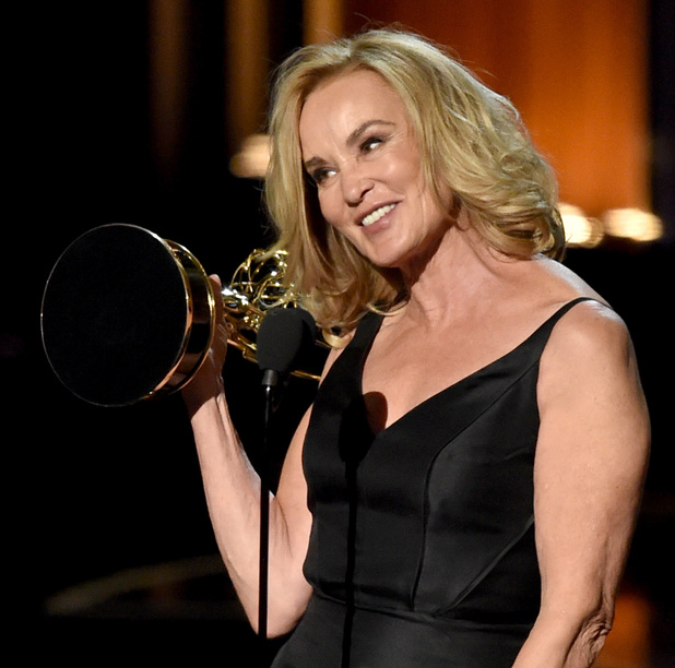 Jessica Lange accepts Outstanding Lead Actress in a Miniseries or Movie for 'American Horror Story: Coven' onstage at the 66th Annual Primetime Emmy Awards