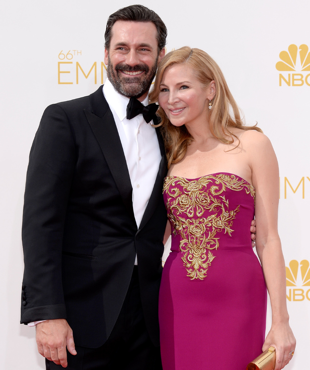 LOS ANGELES, CA - AUGUST 25: 66th ANNUAL PRIMETIME EMMY AWARDS -- Pictured: Actor Jon Hamm and Jennifer Westfeldt arrive to the 66th Annual Primetime Emmy Awards held at the Nokia Theater on August 25, 2014. (Photo by Kevork Djansezian/NBC/NBC via Getty Images)