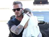 David Beckham and kids at the Los Angeles International Airport