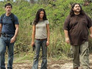 Matthew Fox as Jack, Evangeline Lilly as Kate and Jorge Garcia as Hurley in Lost season 6