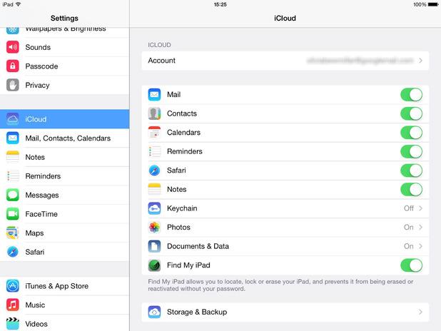 iCloud in an Apple iPad