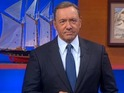 Frank Underwood offers Stephen Colbert some frightening advice on the chatshow.